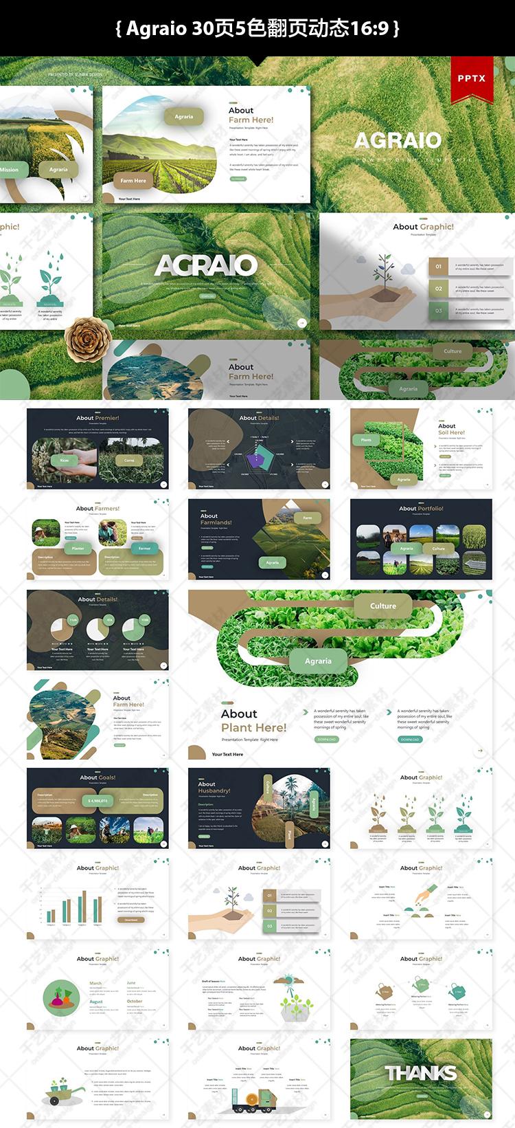 自然农业ppt素材扁平化图形项目展示工作总结汇报 ppt模板下载新插图(3)
