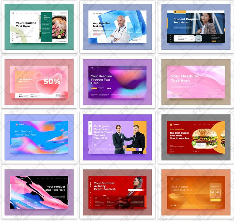 网站首页设计ui界面模板扁平化网页平面海报广告图 ai矢量素材插图(4)