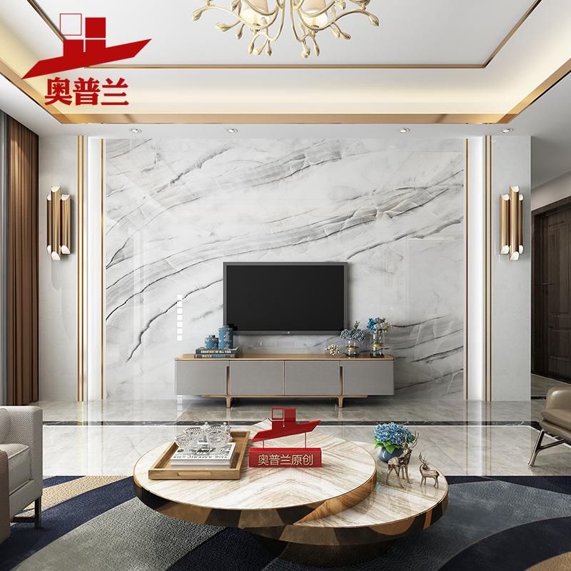 Light Luxury Tv Background Wall Tiled Modern Minimalist Living Room Microcrystalline Film And Television Wall Simple European Style Marble Border