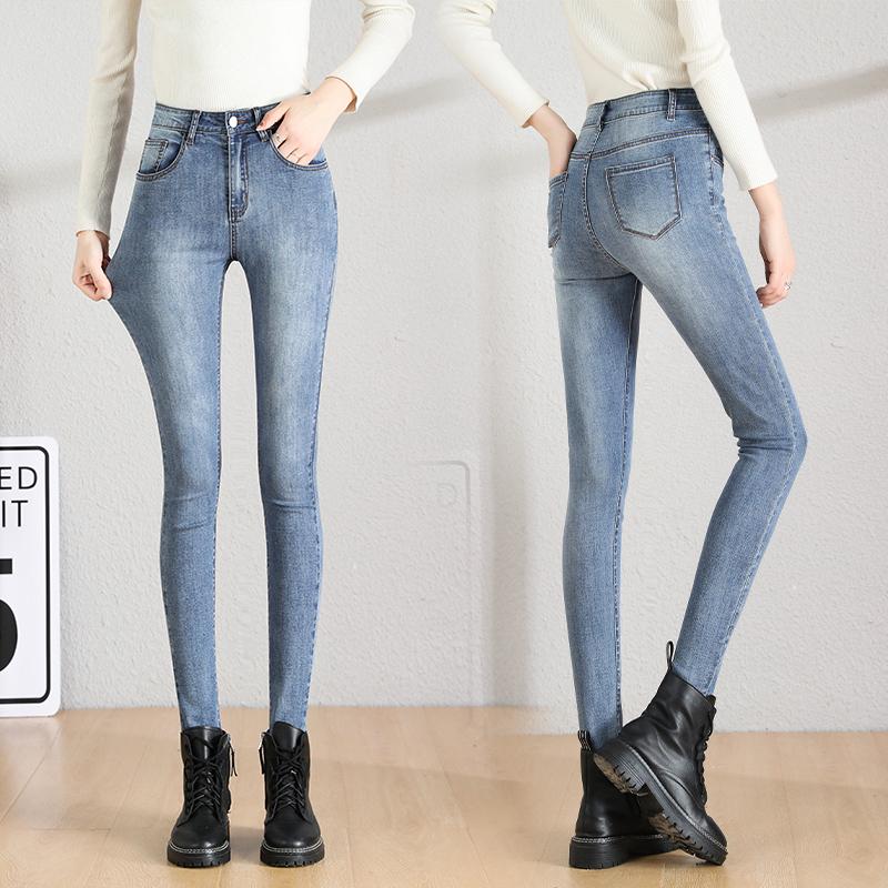 高腰弹力牛仔裤女2021年夏季新款九分休闲修身显瘦紧身小脚长裤子