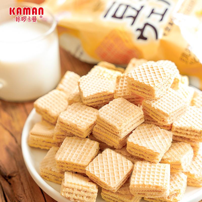 咔啰卡曼日式豆乳威化饼干网红休闲零食儿童营养早餐充饥代餐食品