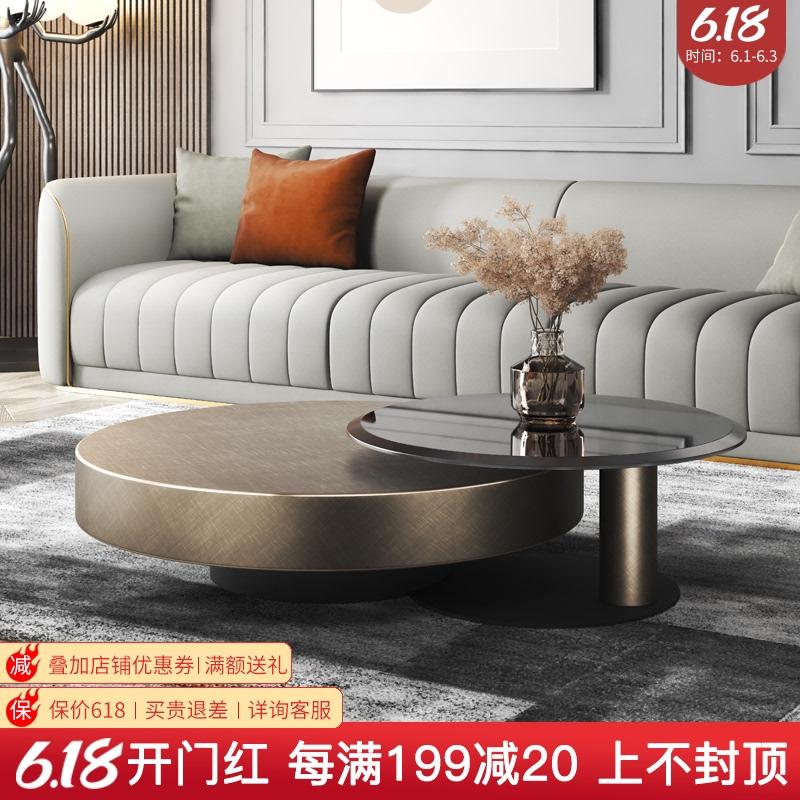 意式轻奢圆形茶几钢化玻璃不锈钢现代简约家用客厅创意设计师茶几