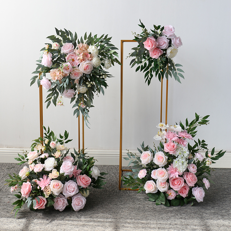 Pink wedding flower row hotel wedding stage welcome background decoration Wrought iron geometric box road guide flower catwalk flower