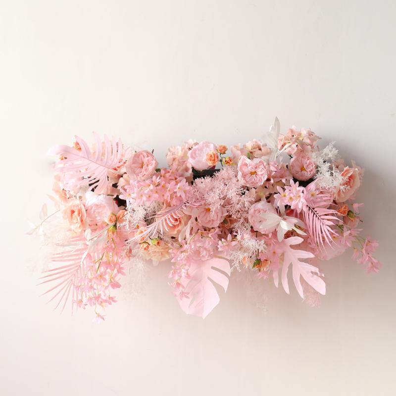 New road lead flower wedding festival T stage walkway flower row pink floor row flower simulation flower arrangement decoration pink