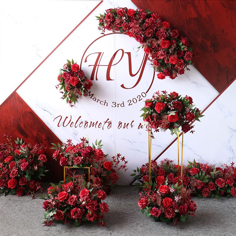 Wedding flower row Catwalk floor row hotel Floral simulation road leading flowers Wedding decoration props Wall hanging long flowers