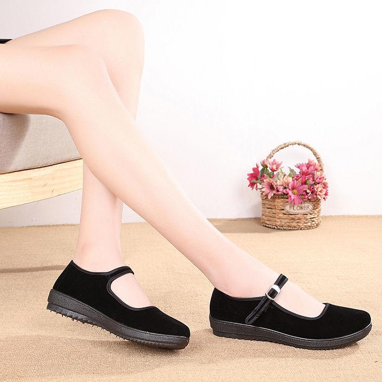 旧传(服饰)老北京防滑布鞋女鞋平跟单鞋软底鞋 妈妈鞋