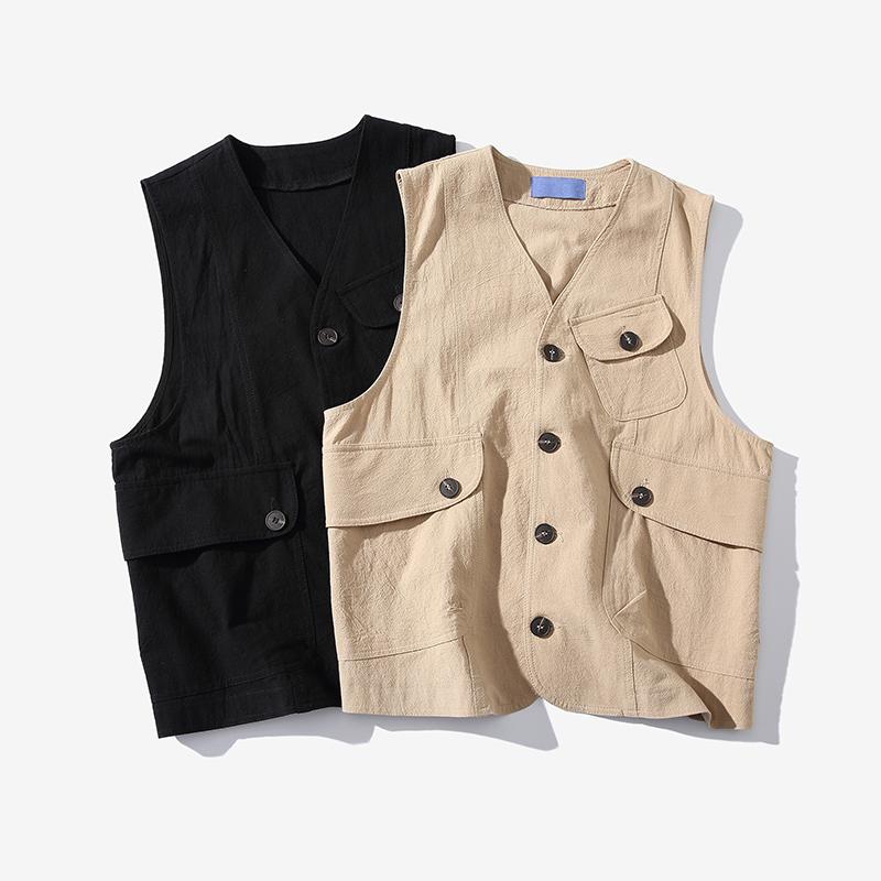 Dụng cụ Nhật Bản cộng với size áo khoác mùa hè lỏng mồ hôi vest nam nhiều túi nam áo ghi lê xu hướng Hàn Quốc - Lót