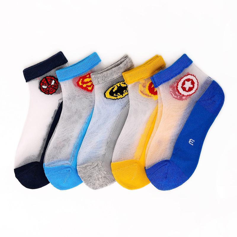 儿童袜子夏季超薄款夏天透气宝宝水晶袜冰丝小男童漫威婴儿丝袜短