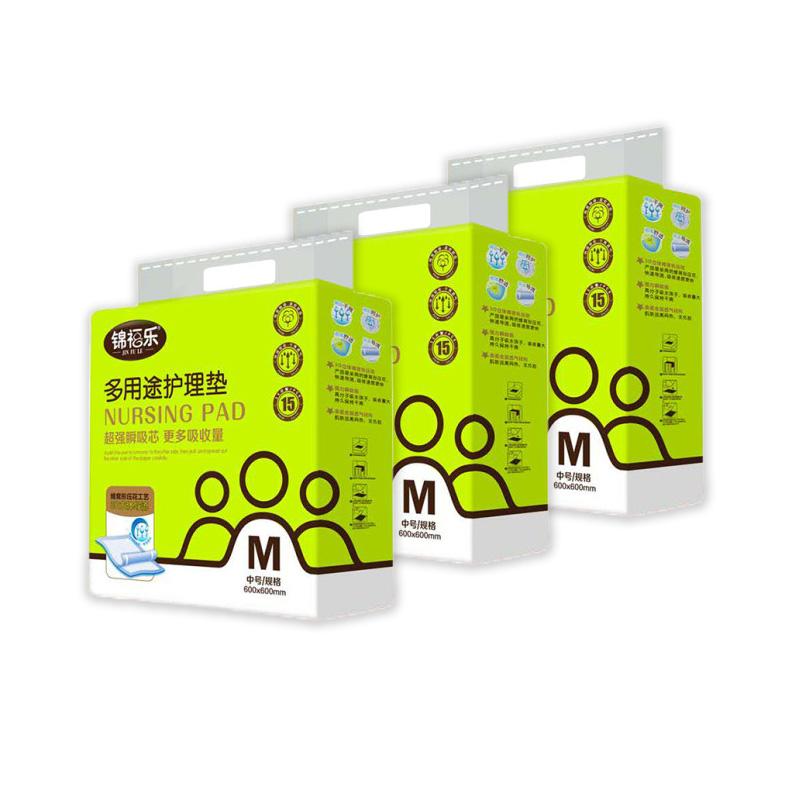 锦福乐成人护理垫M码正方形600*600产妇病人女15片*3包中单隔尿垫