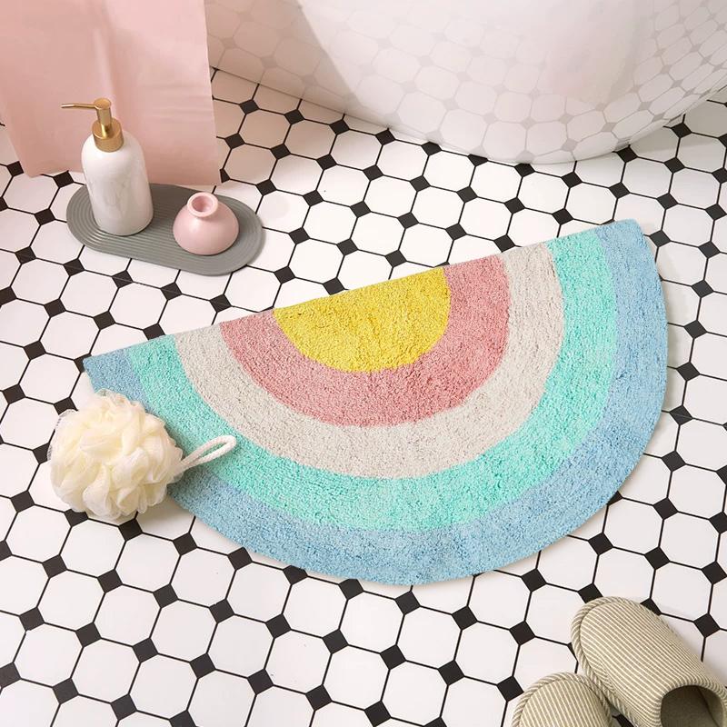 简约半圆吸水浴室地垫彩虹加厚防滑地毯卫生间洗手间厕所门口地垫