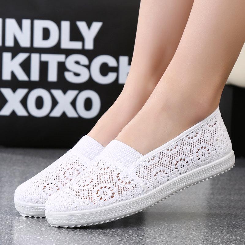 老北京布鞋女鞋妈妈鞋夏季透气舒适女网鞋平跟软底v布鞋女士网面鞋