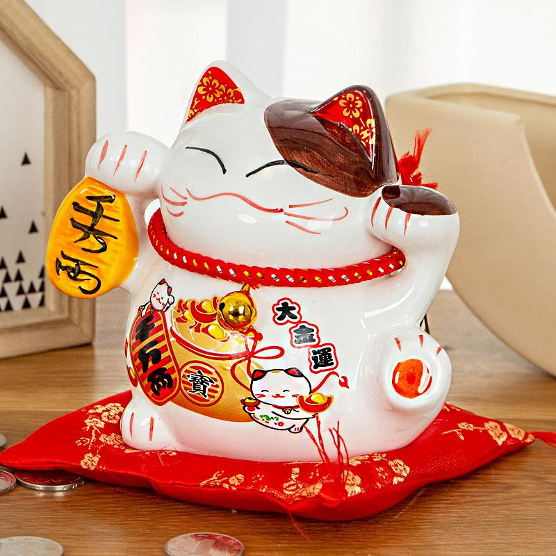 千万两招财猫储蓄存钱罐摆件家居客厅开业日系小号发财猫可存可取