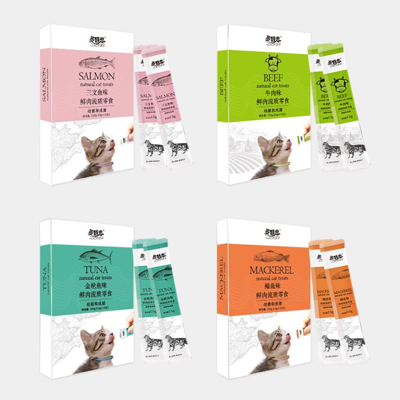 多特思猫条猫咪零食营养增肥猫罐头小鱼干妙鲜湿猫粮包喵舔酱15支