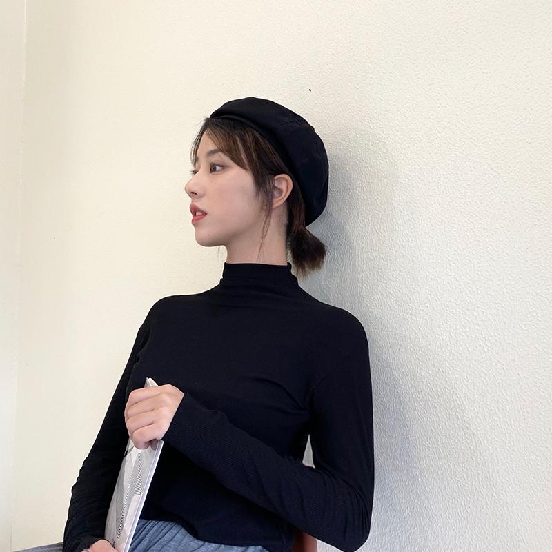 【莫代尔纯棉】纯色半高领长袖打底衫