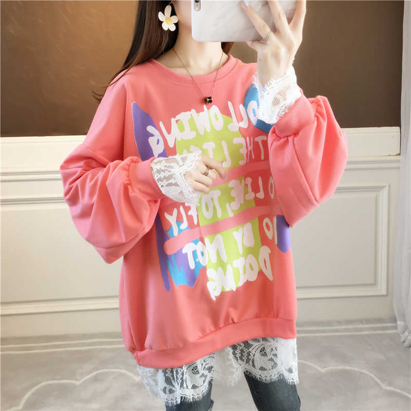 Design sense lace stitching thin wei clothing women spring and autumn Korean version of loose-fitting niche jacket foreign gas jacket ins tide 45 Online shopping Bangladesh