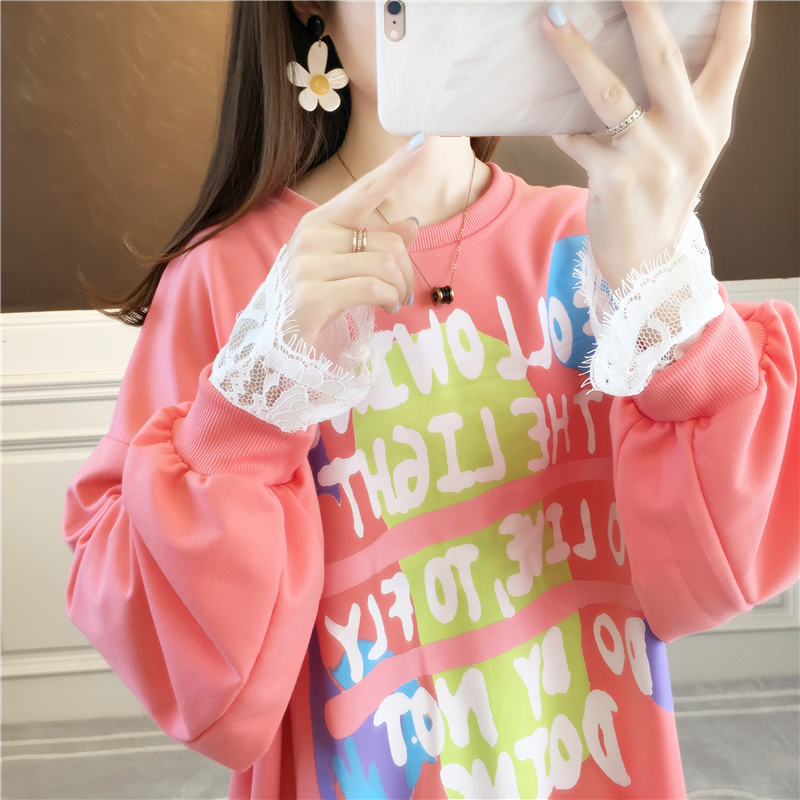 Design sense lace stitching thin wei clothing women spring and autumn Korean version of loose-fitting niche jacket foreign gas jacket ins tide 43 Online shopping Bangladesh