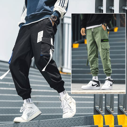 Shorts men's summer sports five pants casual autumn and winter trousers loose large size beam foot tooling nine points pants tide