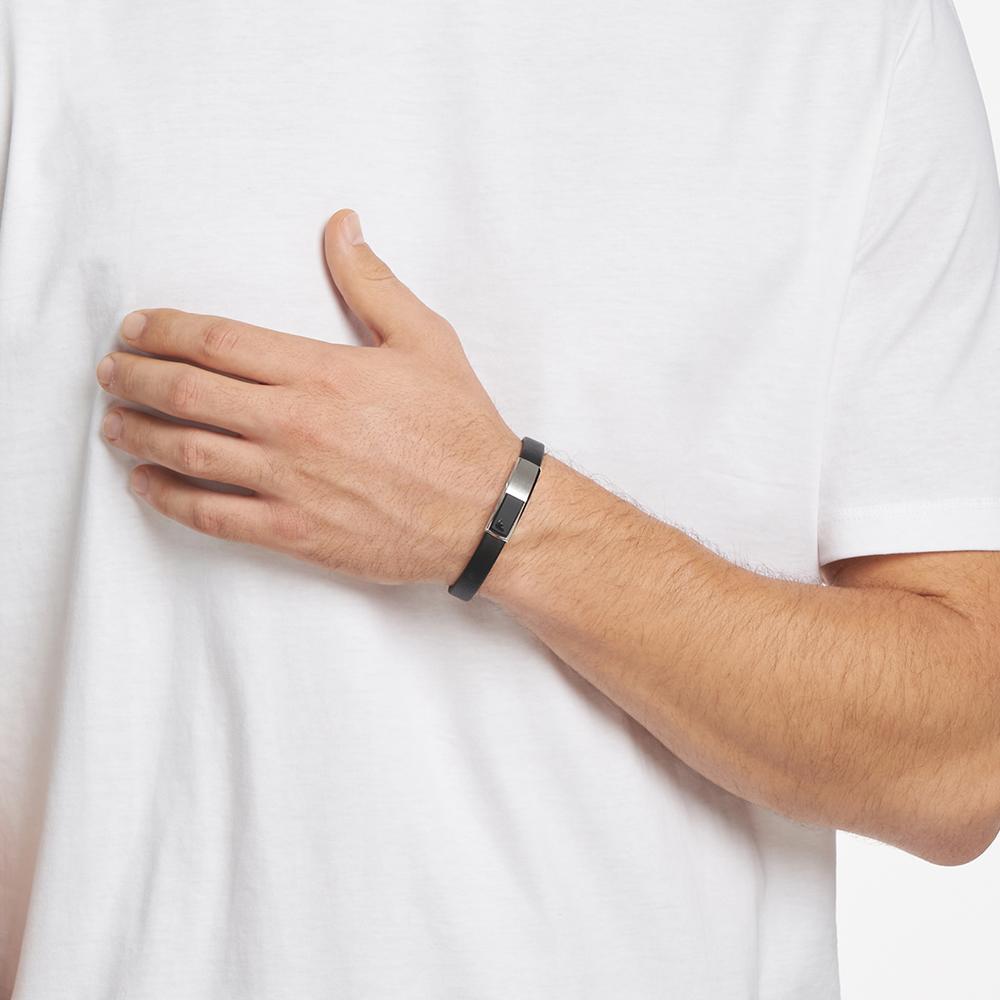 【双11预售】Armani阿玛尼男士手环简约黑色皮革原创潮酷个性手饰