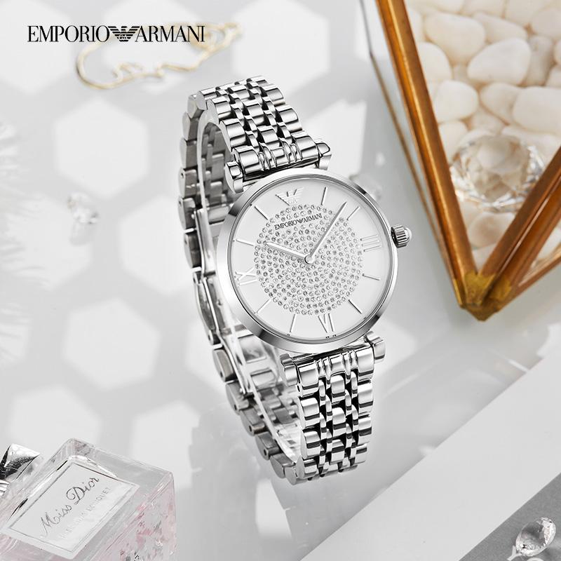 阿玛尼满天星手表女 佟丽娅同款正品镶钻石英女表AR11244 AR1926