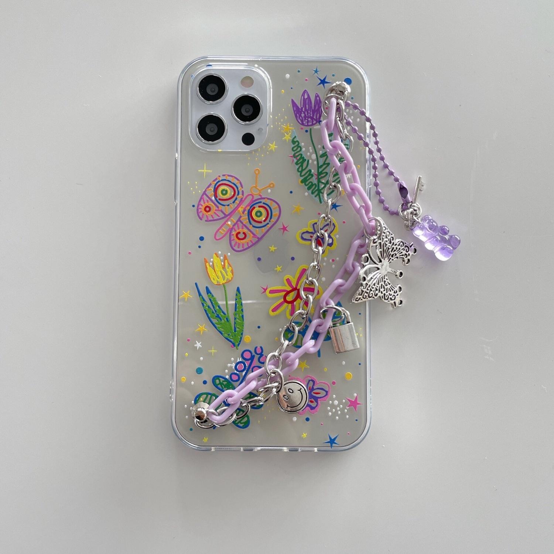 Tactile`甜夜/手作紫色花蝴蝶鍊iphone12手機殼套蘋果11promax夢幻適用78p
