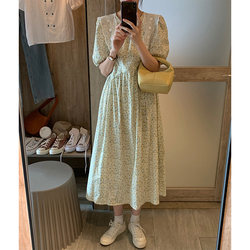 Floral dress female bubble sleeve round neck 2021 summer new gentle style sweet temperament high waist long skirt