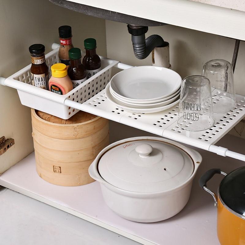 置物隔板柜子厨房分层橱柜下水架水道收纳功能水槽抽屉式物架多功