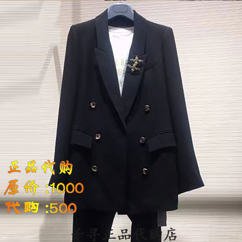 Amass women's clothing Amass authentic official website 2021 new double-breasted medium and long version of the suit business casual jacket