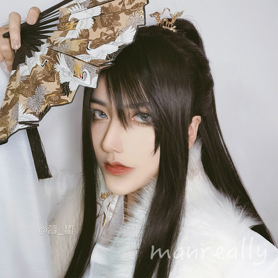 chinese hanfu warrior swordsman film cosplay wig for men ancient style long straight hair tiger mouth clip horsetail ancient costume modeling Hanfu full head cover style