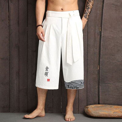 Chinese style Tang suit Han suit pants men's seven-minute pants loose straight-barreled Imitation cotton and hemp casual broad-legged pants retro trend
