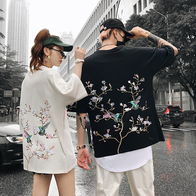 Chinese Style T-shirt Men's Plum Blossom Embroidery Restoration of the Ancient and Fresh Literature and Art Couple Clothes Short-sleeved Street Fashion Half-sleeved and Five-sleeved