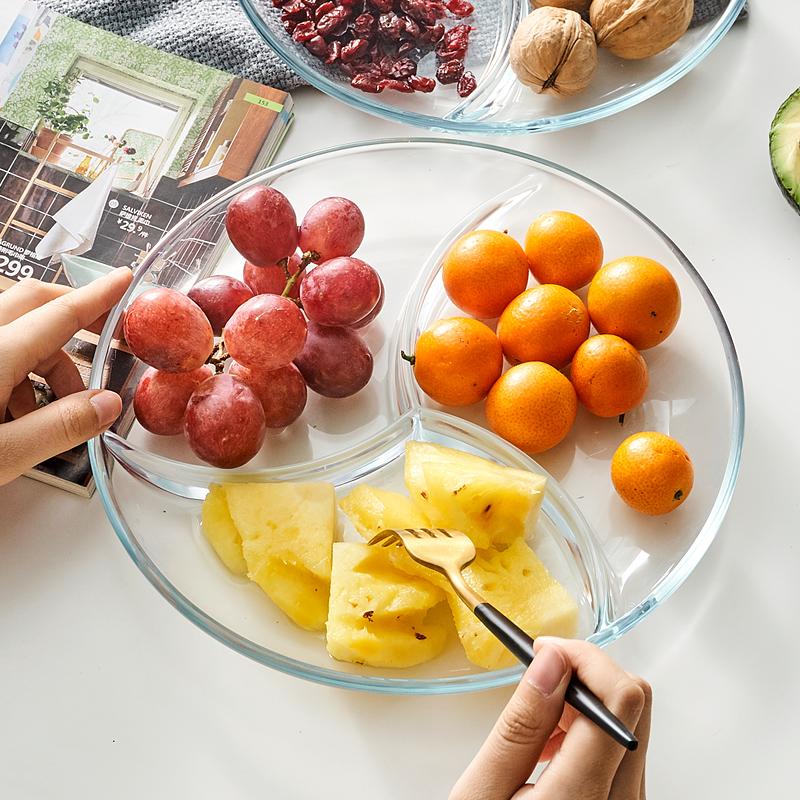 耐热钢化玻璃水饺盘西餐盘创意分隔盘透明早餐盘快餐盘玻璃水果盘