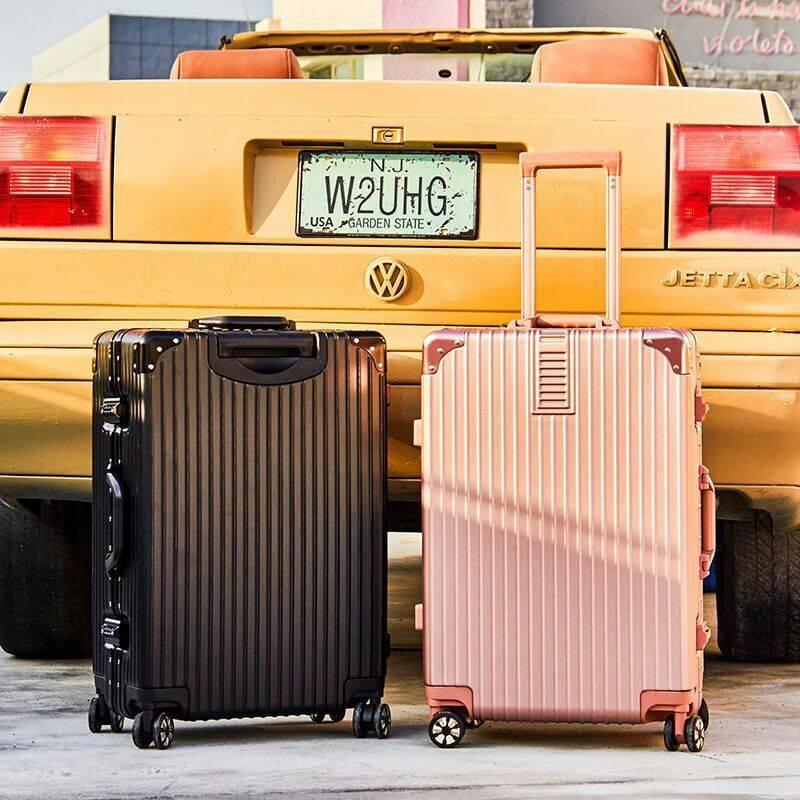 韩版铝框行李箱女拉杆箱男学生旅行箱万向轮箱子大容量密码箱包