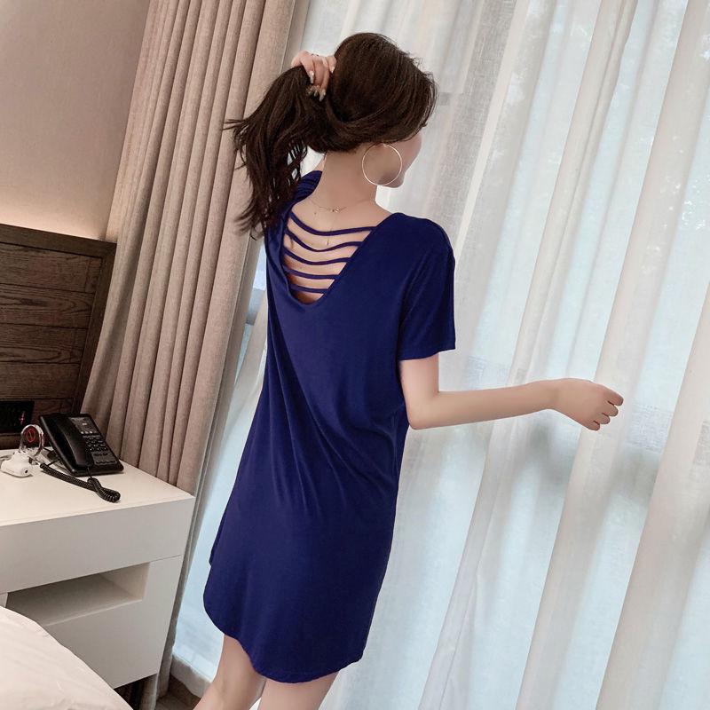 睡裙夏季可爱短袖薄款睡衣家居服