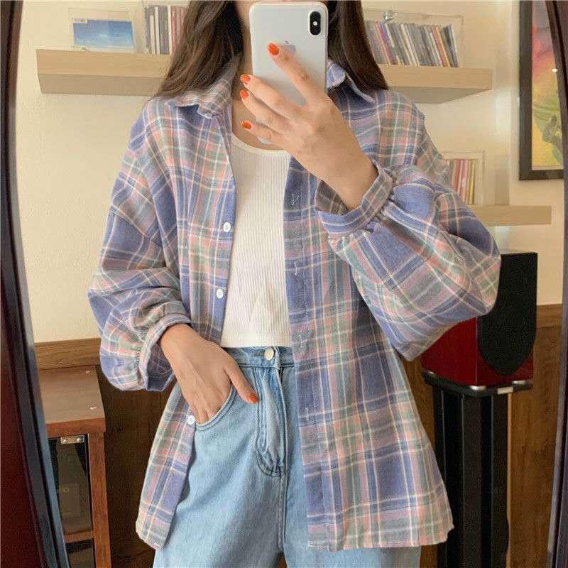 秋季女装2020新款潮格子衬衫女学生韩版宽松POLO领长袖衬衣上衣女