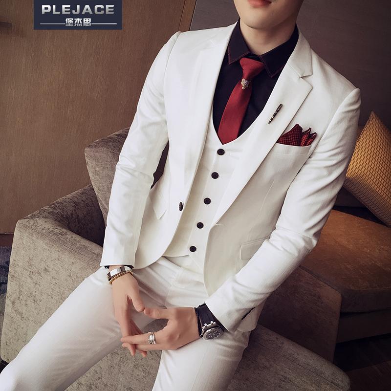 春季西服套装男士三件套韩版修身一粒扣休闲西装英伦新郎结婚礼服