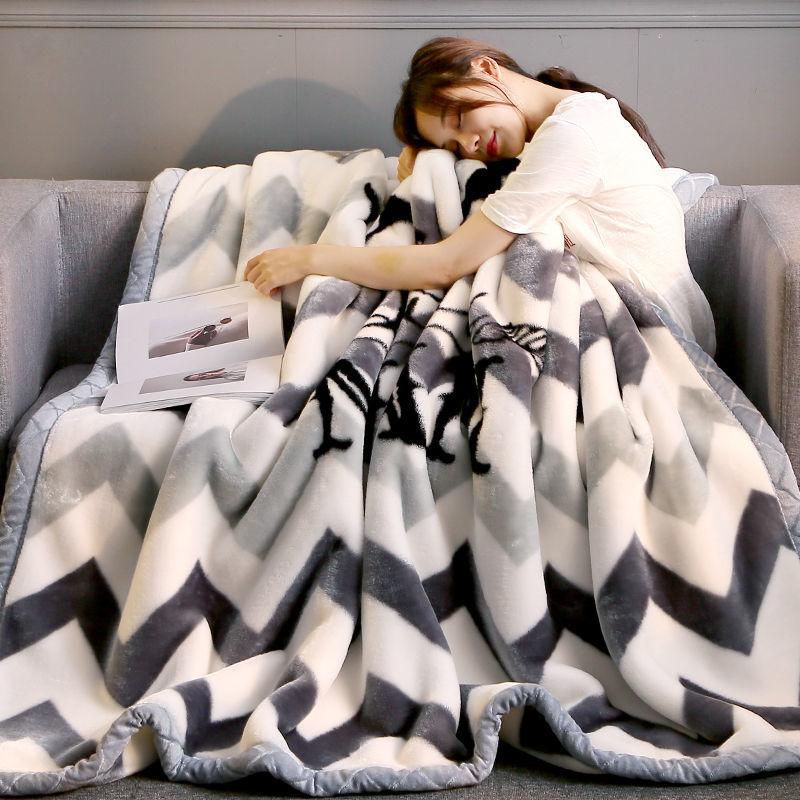 皇冠秋冬季加厚双层拉舍尔毛毯单人双人毯子保暖学生床单被子盖毯