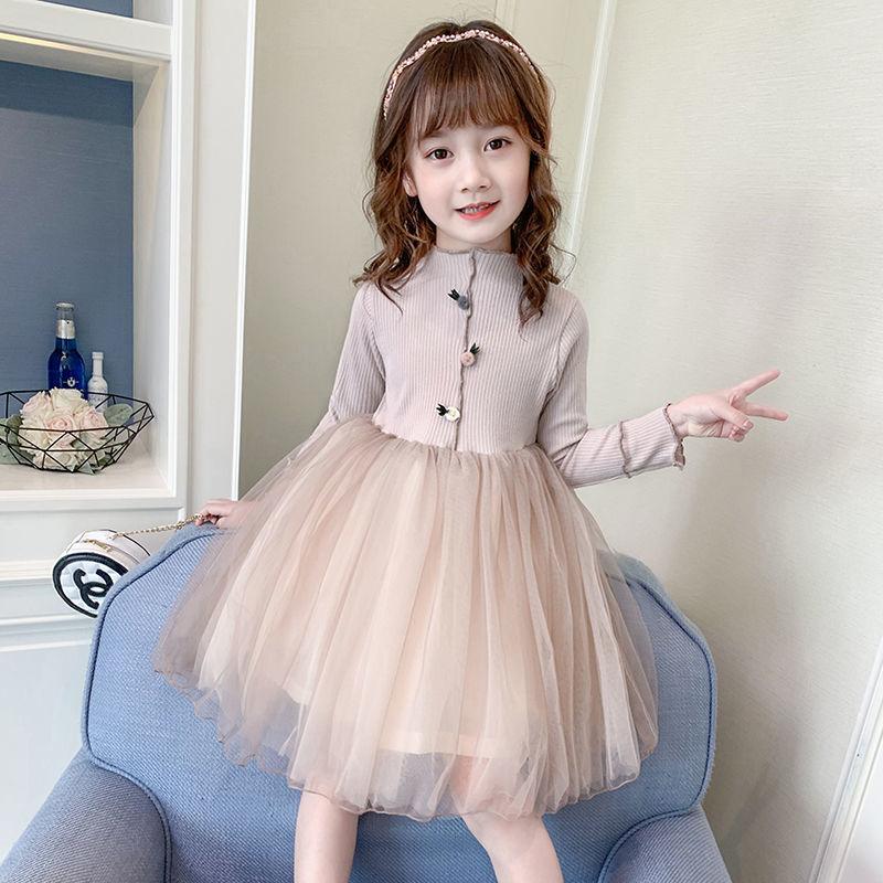 女童秋装洋气连衣裙2020新款小女孩网纱公主裙儿童韩版长袖蓬蓬裙