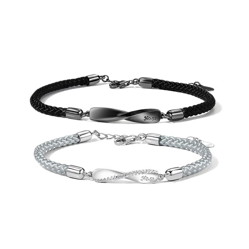 纯银情侣手链一对情侣款刻字异地恋手绳男女莫比乌斯手环纪念礼物