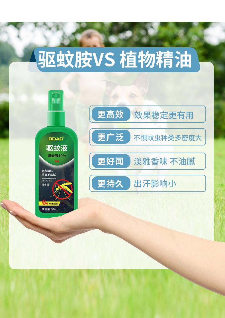 BDAC 户外长效驱蚊液 驱蚊喷雾 80ml 含10%避蚊胺 图4