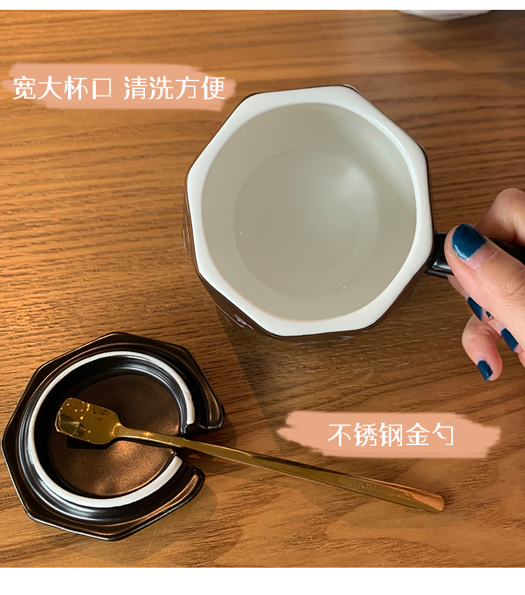 Utsuwa Nordic ceramic cup with cover spoon keller home coffee lovers a creative move trend
