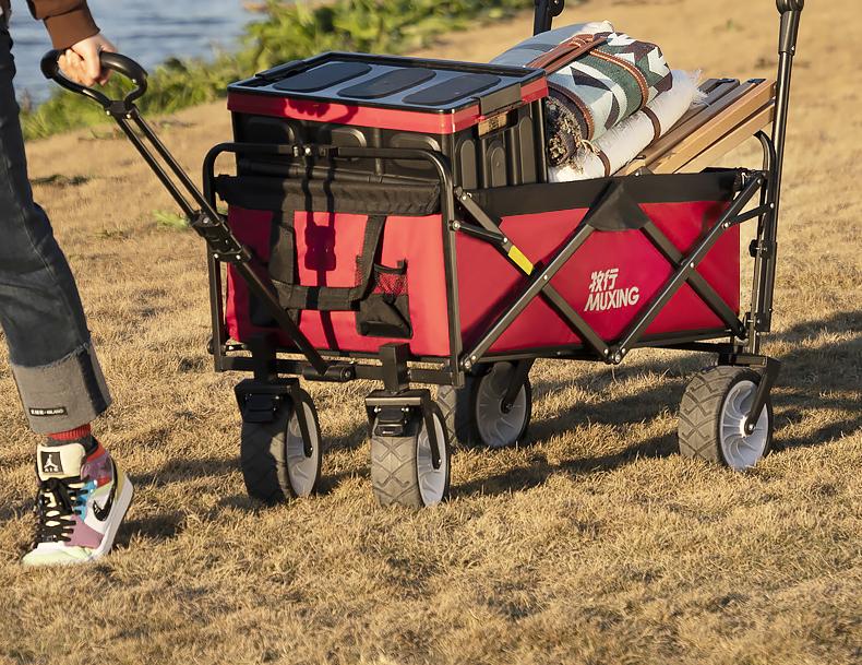户外野餐野营小车营地车搬家超市购物买菜摺迭手推可携式拉桿货推车详细照片