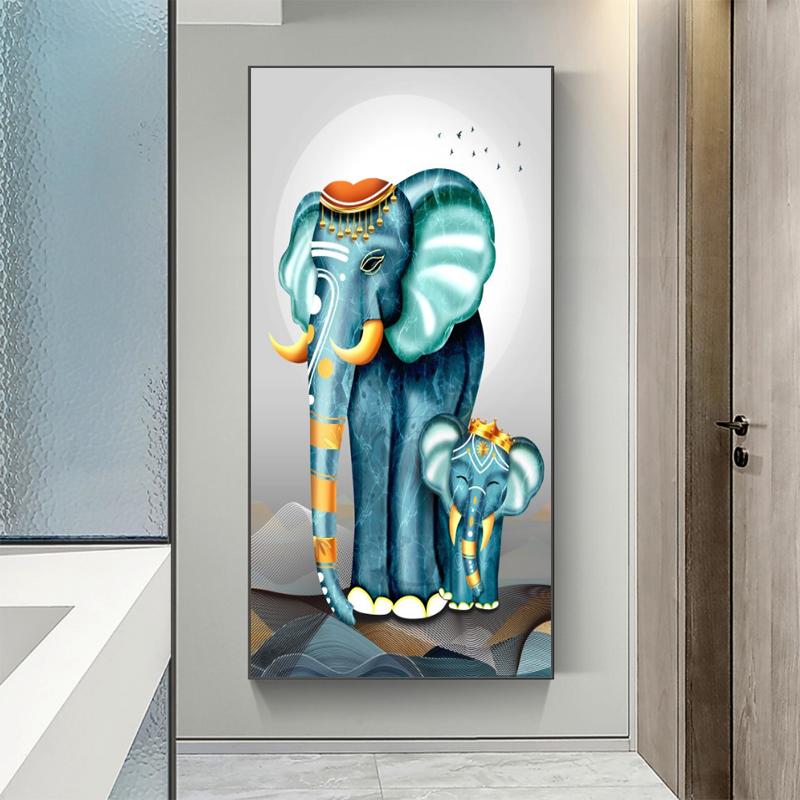现代简约客厅玄关客厅墙装饰画吉象如意竖款走廊过道背景墙晶瓷画