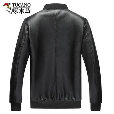 啄木鸟新款秋冬男士皮衣外套皮夹克立领PU商务休闲帅气加绒皮衣