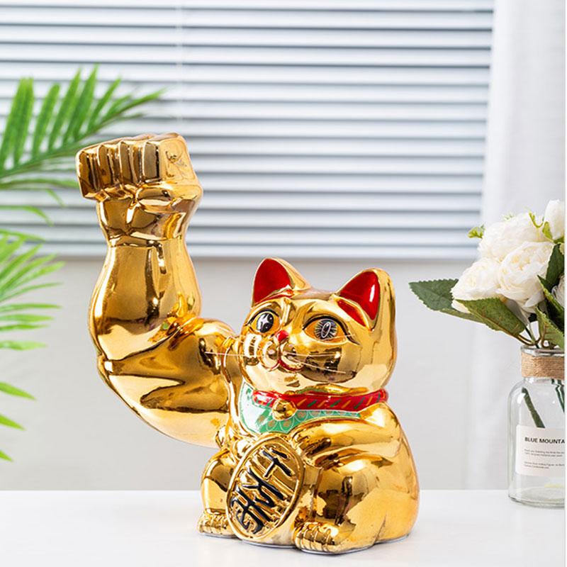 劫财猫大力肌肉招财猫开业店铺礼物创意麒麟臂巨臂胳膊拳头猫