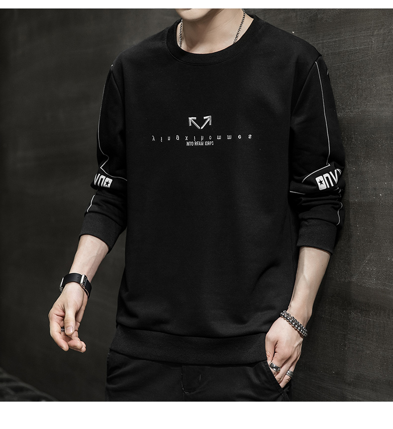 Wei yi men's spring and autumn round-neck casual top Korean version of the trend youth 2020 new coat hooded long-sleeved t-shirt 59 Online shopping Bangladesh