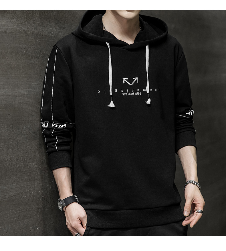 Wei yi men's spring and autumn round-neck casual top Korean version of the trend youth 2020 new coat hooded long-sleeved t-shirt 55 Online shopping Bangladesh