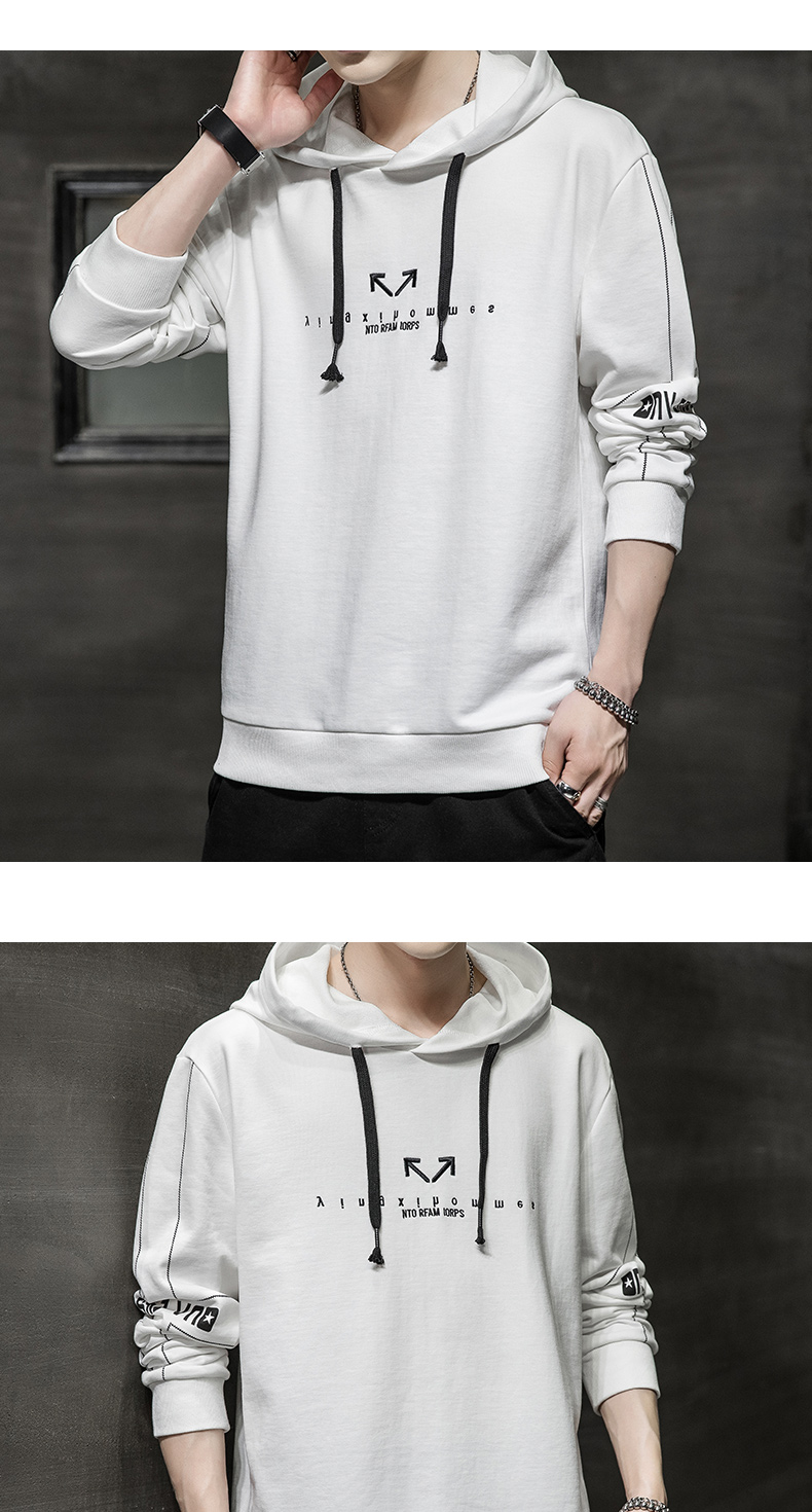 Wei yi men's spring and autumn round-neck casual top Korean version of the trend youth 2020 new coat hooded long-sleeved t-shirt 57 Online shopping Bangladesh