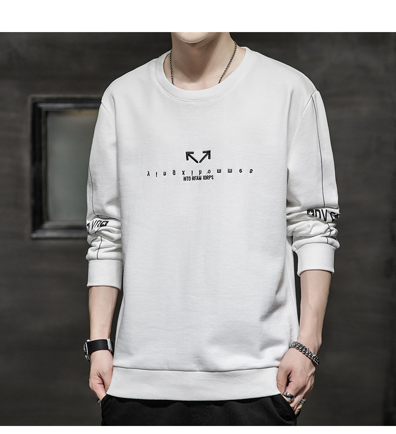Wei yi men's spring and autumn round-neck casual top Korean version of the trend youth 2020 new coat hooded long-sleeved t-shirt 62 Online shopping Bangladesh