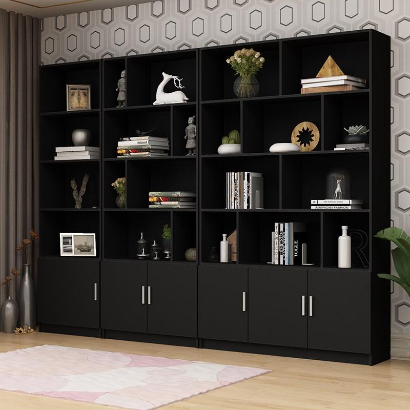 图书收纳柜斗柜靠墙置物柜大型大书客厅2米高书黑色架v图书30cm深1