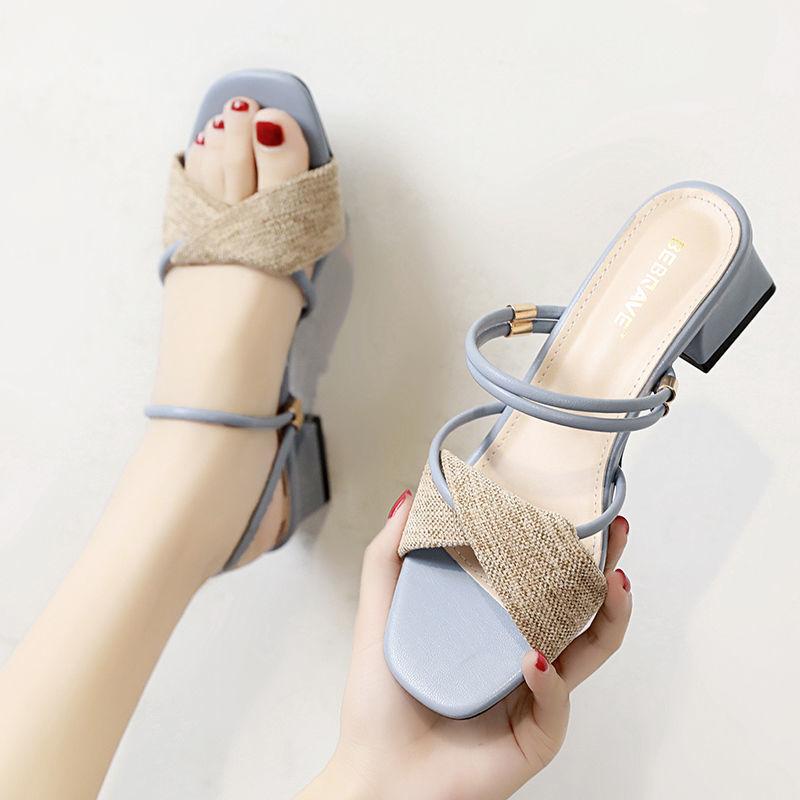 新款夏季仙女风中跟粗真软皮凉鞋女潮款